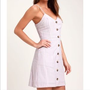 Lulu's Pink and White On The Pier Striped Dress L